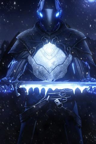 iPhone Wallpaper Warrior, helmet, armor, sword, stars, creative design