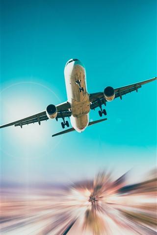 iPhone Hintergrundbilder Flugzeug, Flug, Himmel, Unteransicht, Lichtlinien