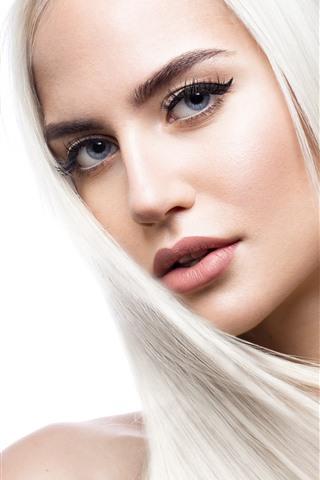 iPhone Обои Блондинка, прическа, лицо, глаза, смотреть