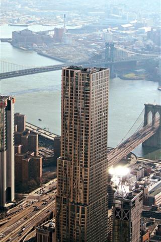 iPhone Fond d'écran Chicago, pont de Manhattan, gratte-ciel, rivière, ville, États-Unis
