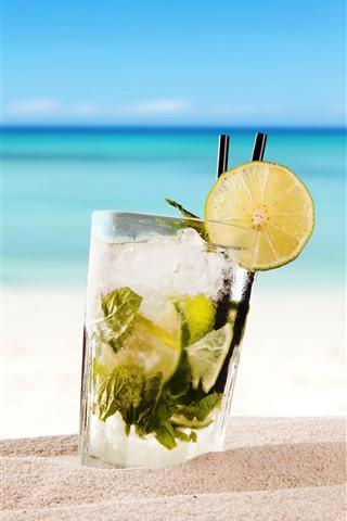 iPhone Обои Коктейль, Мохито, напитки, пляж, море, тропический