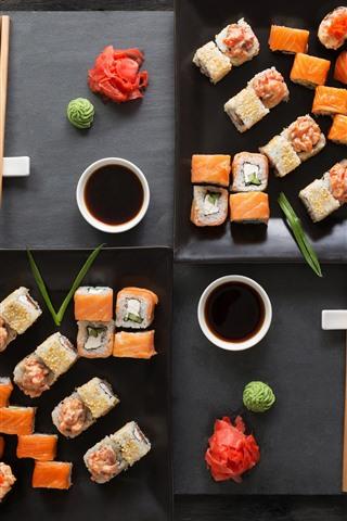 iPhone Обои Вкусная японская еда, суши, соус