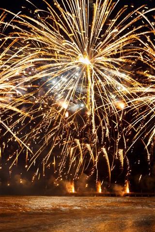 iPhone Papéis de Parede Fogos de artifício, faíscas, rio, noite