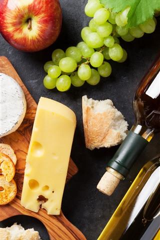 iPhone Обои Виноград, яблоко, вино, сыр, еда