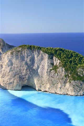iPhone Hintergrundbilder Griechenland, Zakynthos, Ionisches Meer, Schiffswrack, Strand, Insel