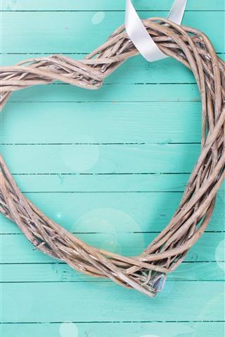 iPhone Обои Любовь сердце, светло-голубой фон