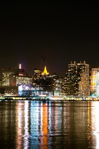 iPhone Wallpaper New York, bay, skyscrapers, lights, water, night, USA
