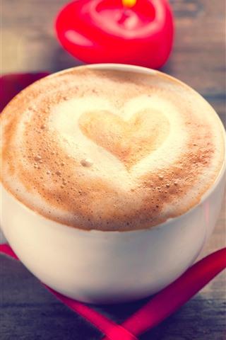iPhone Обои Одна чашка кофе, любовь сердце, пена, красная лента