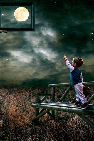 iPhone Fond d'écran Escalier, Père, Garçon, Lune, Nuages, Grass, Banc, Photo, Image créative