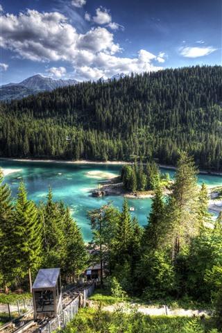 iPhone Wallpaper Switzerland, Lake Cauma, forest, trees, island