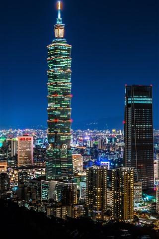 iPhone Обои Taipei 101 здание, Тайвань, небоскребы, огни, ночь, город