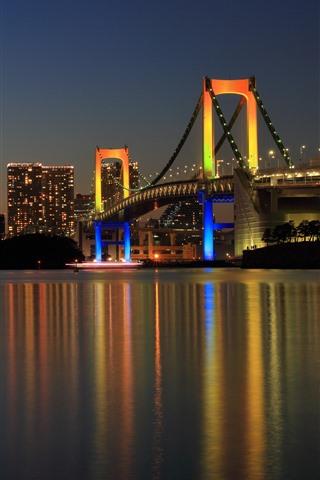 iPhone Обои Токио, Япония, мост, огни, ночь, река, город