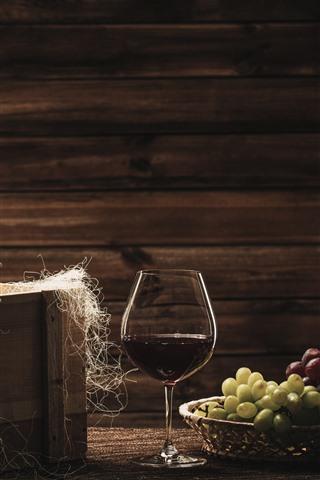 iPhone Hintergrundbilder Zwei Flaschen Wein, Trauben, Glasschale