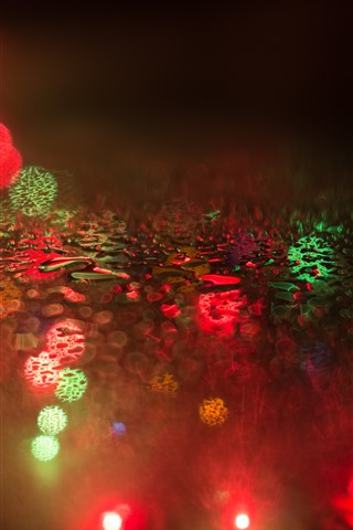 iPhone Обои Капельки воды, стекло, красочные световые круги, туманные