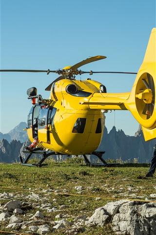 iPhone Fond d'écran Hélicoptère jaune, montagnes