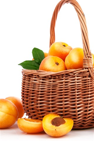 iPhone Обои Желтые персики, фрукты, корзина, белый фон